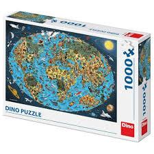 Dino Puzzel 1000 XL Cartoon Wereldkaart