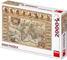Dino puzzel historische kaart van de wereld, 2000 stukjes.