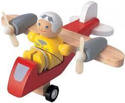 Plan toys houten turboprop vliegtuig.