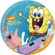Papieren bordjes van Sponge bob 8 stuks.