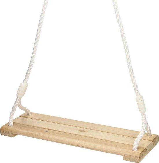 Schommelplankje van hout met verstelbaar touw.