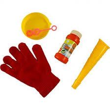 Bellenblaas met handschoenen om te stuiteren met de bellen.