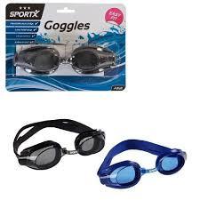 SportX chloorbril zwart of blauw voor volwassenen.