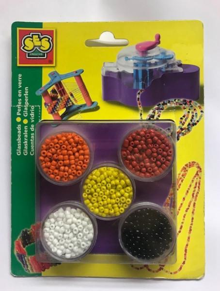 Ses kralen in ronde doosjes 5 kleuren.
