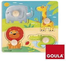 Goula houten knopjes puzzel dieren tuin dieren