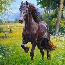 Diamond painting van een zwart rennend paard.