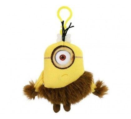 Minions sleutelhanger 1 oog pluche 15 cm.