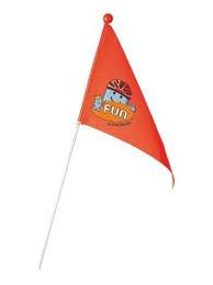 Oranje fietsvlag met opdruk.140 cm lang.