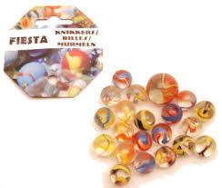 Fiesta knikkers 20 kleintjes en 1 grote.