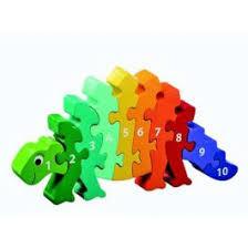 Houten tel puzzel van een dinosaurus.