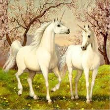 Diamond painting van 2 eenhoorns.