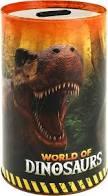 World of dinosaurussen spaarpot van blik.