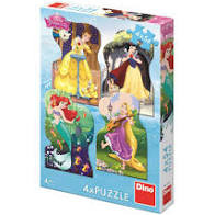 Dino Puzzel Disney Princess 4 x 54