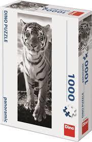 Panorama puzzel van een tijger zwart wit, 1000 stukjes.
