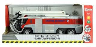 Brandweerauto met licht en geluid en frictie aandrijving.