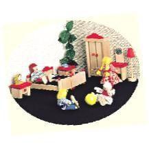 Bino poppenhuis slaapkamer van hout