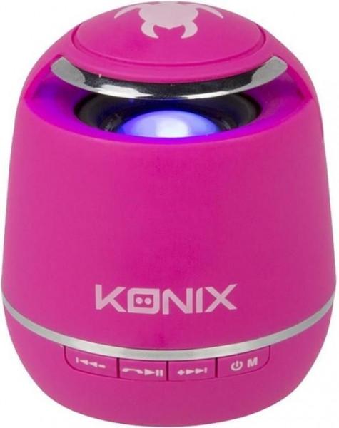 Konix bleutooth speaker roze voor smartphone en tablets.7,5 cm hoog