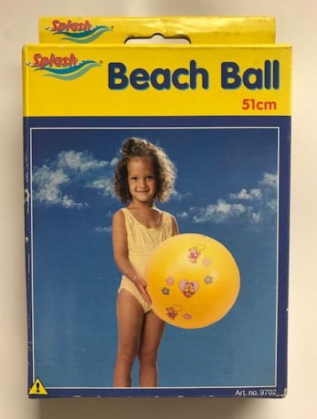 Strandbal geel met beertjes 51 cm.