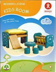 Wanju slaapkamerset voor een poppenhuis.
