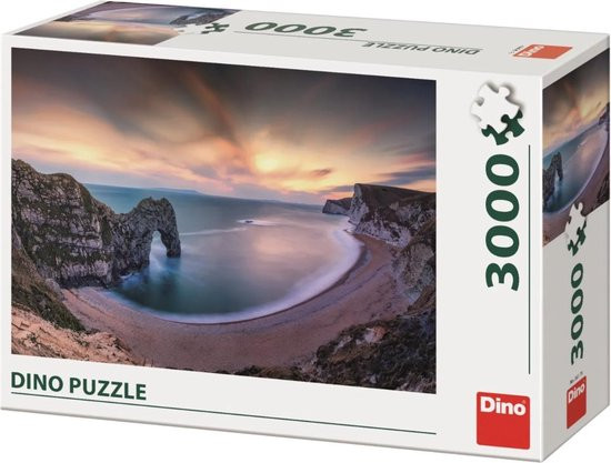 Dino puzzel 3000 stukjes van zonsopgang durdle door dorset engeland.