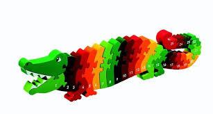 Houten krokodil puzzel met de cijfers tot 25.