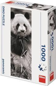 Puzzel panorama van een panda zwart wit, 1000 stukjes.