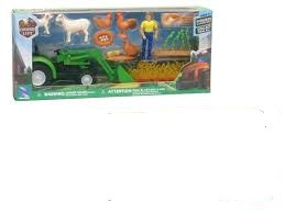 Country life tractor met laadschep, dieren en een boer.