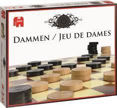 Jumbo damspel 12200, houten damstenen.