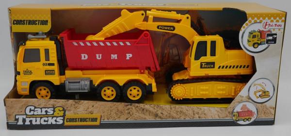 Toitoys vrachtwagen met graaf machine 33 cm lang samen.