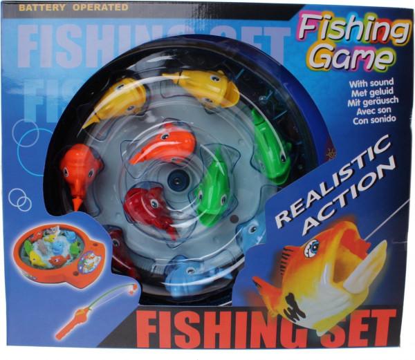 Visspel met 10 visjes. werkt op batterijen.