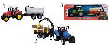 Farm tractor met aanhanger met frictie aandrijving.