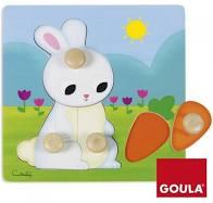 Goula houten knopjes puzzel met konijn.