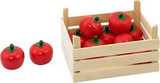 Janod speelgroente ,10 tomaten in houten kistje.