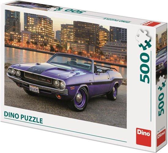 Dino puzzel van een mooie dodge car challanger paars 500 stukjes.