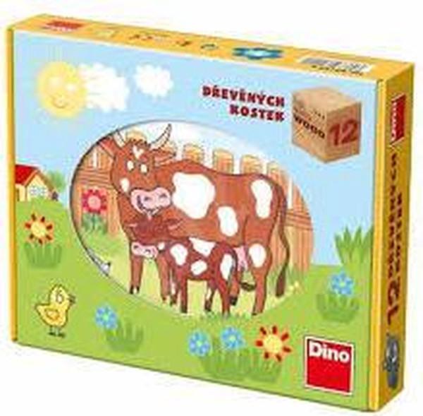 Houten blokken boerderij puzzel met 12 blokken en 6 puzzels.