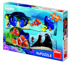 Puzzel dino Finding Dory 4 x 54 stukjes.