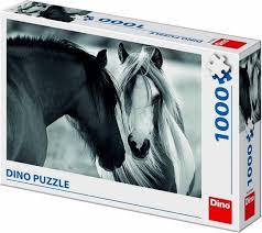 Dino Puzzel Paarden Zwart-Wit 1000 Stukjes