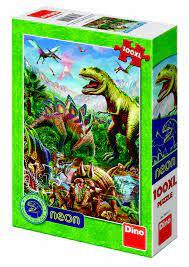 Dino neon puzzel van een dinosaurus ,100 xl stukjes.