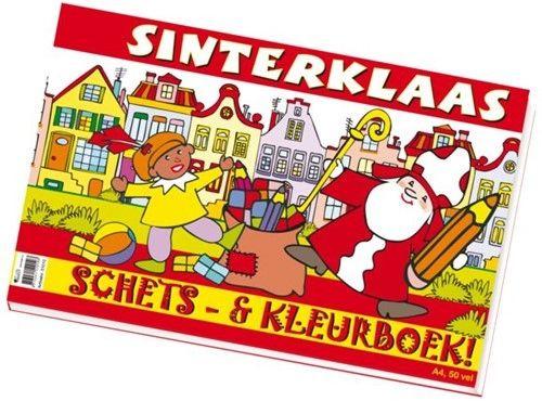 Sinterklaas schets en kleurboek.