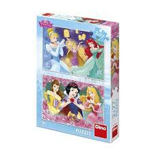 Dino puzzel van Disney princessen 2 x 77 stukjes.