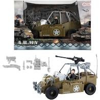 Militaire soldier force jeep met wapens
