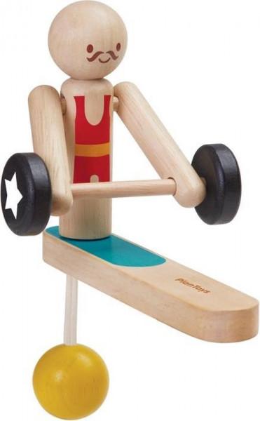 Plan toys weightlifting acrobaat van Hout.