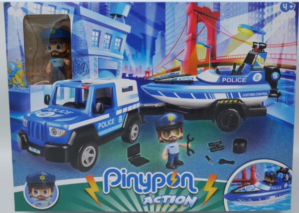 Pinypon politie wagen met trailer en boot. inclusief speelfiguur.