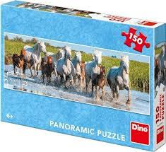 Dino Paarden puzzel panorama, 150 stukjes.