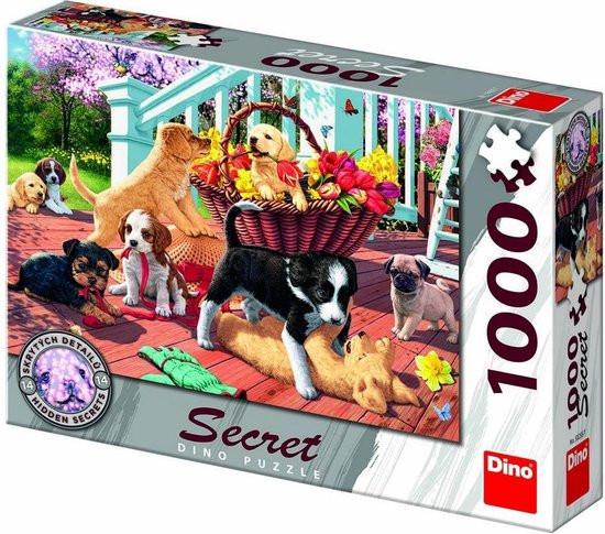 Puzzel honden secret zoek de 14 verborgen dieren. 1000 stukjes.
