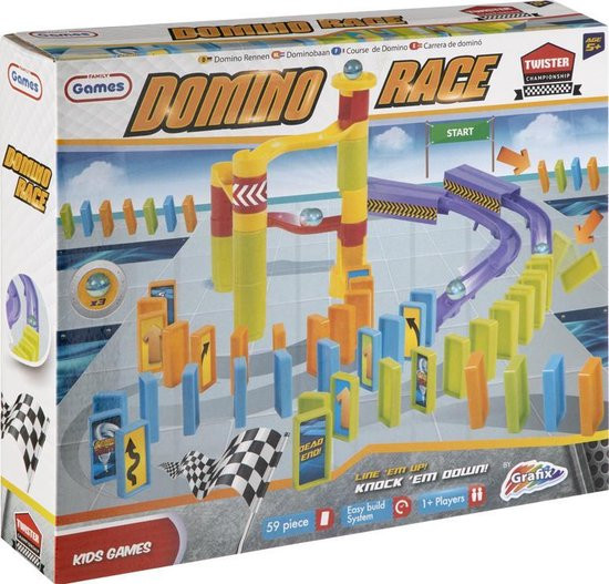 Domino race set 59 delig met knikkers.