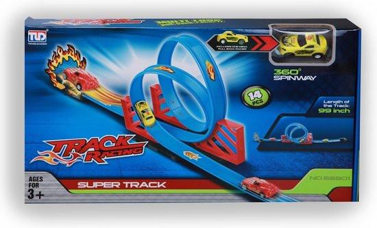 Super track race baan met loopings, 14 onderdelen.