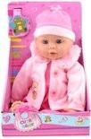Baby pop met jasje en muts.
