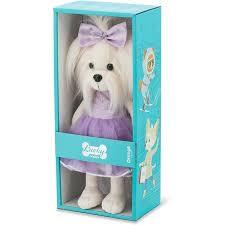 Orage toys Lucky doggy mimi met paarse jurk en strik.