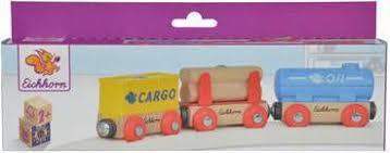 Eichhorn 3 houten wagons met magneten.